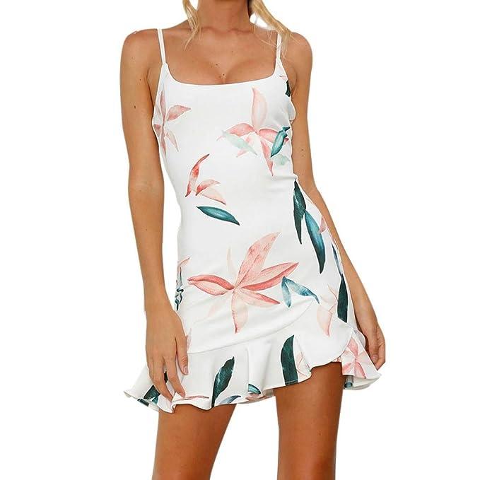 ac25f9e0f66d10 Damenkleider Sommer, Dasongff Damen Ärmelloses Minikleid Ruffle  Unregelmäßiges Sommerkleid Cocktailkleid Blätter Print Abend Party Strand