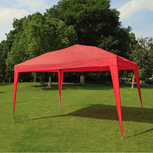 BenefitUSA EZ POP UP Wedding Party Tent 10'x13′ Folding Gazebo Beach Canopy W/Carry Bag 210D Oxford Fabric (Red)