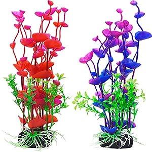 Mudder Artificial Aquatic Plants Aquarium Plants Plastic Fish Tank Decorations 7.5 Inch, 2 Pieces 42