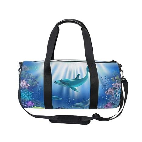 3b3779378e Amazon.com  OuLian Women Gym Bag Dolphins And Plants Mens Camp ...