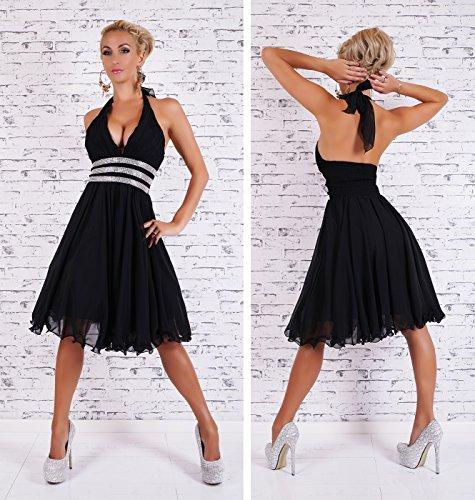 Abendkleid Cocktailkleid Abiballkleid Neckholder Schwarz Kleid Petticoat Strass mit Chiffon PaCIWqdw