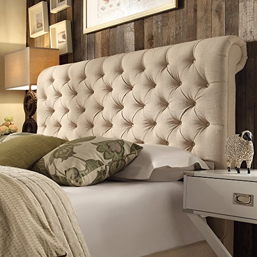 ModHaus Living Modern Beige Linen Upholstered Rolled Top Button Tufted Chesterfield King Headboard - Includes Pen (Linen Chesterfield)