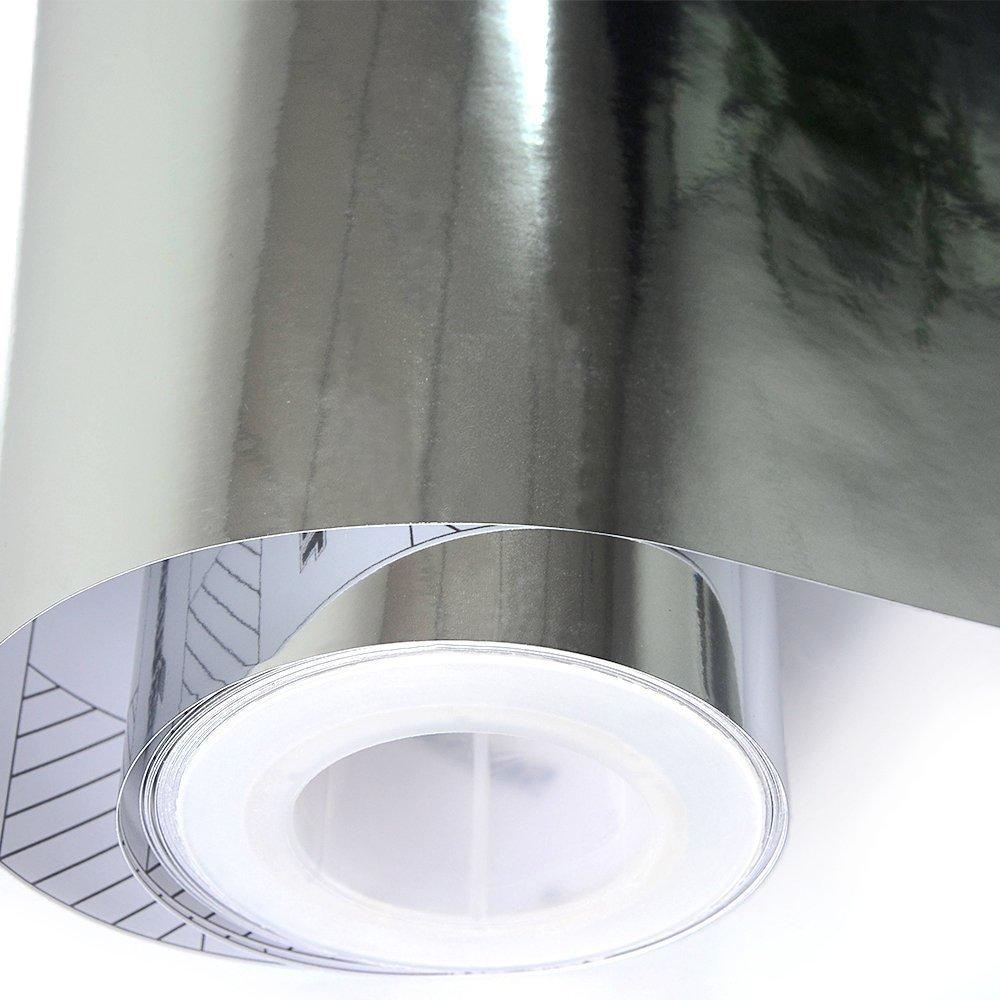 TECKWRAP 11.5x55 Chrome Mirror Silver Vinyl Wrap Car Sticker Decal Film Sheet Self-adhesive with air release