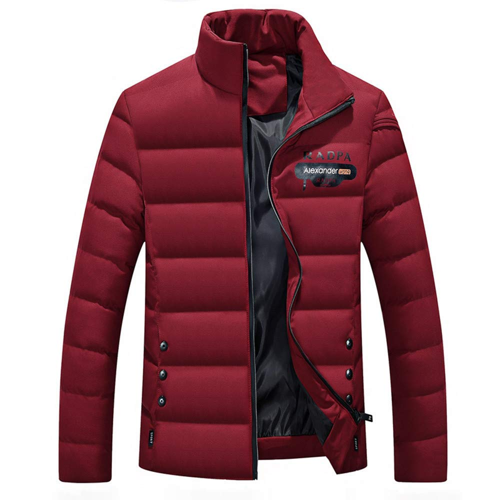 BaZhaHei Uomo Top, Inverno Uomo Piumino Giacca Calda Cappotto a Maniche Lunghe Giacca con Bottoni Casual Top Coat-Nero/Rosso/Grigio/Blu