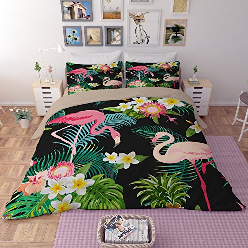 Dodou 3D Flamingos printing Bedding Sets Soft and comfortable Bed Linens Bedding 100% polyester Duvet Cover Sets 3pcs (King) by Dodou