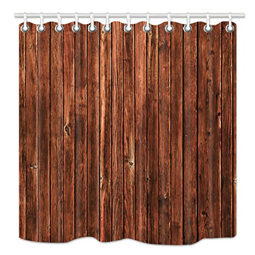 HNMQ 72 X 72 Inches Fabric Shower Curtain Set, Waterproof Bathroom Curtain Set, Brown Wood Grain Pattern, Mildew Resistant Shower Curtains,Equipped with (Woodgrain Pattern)