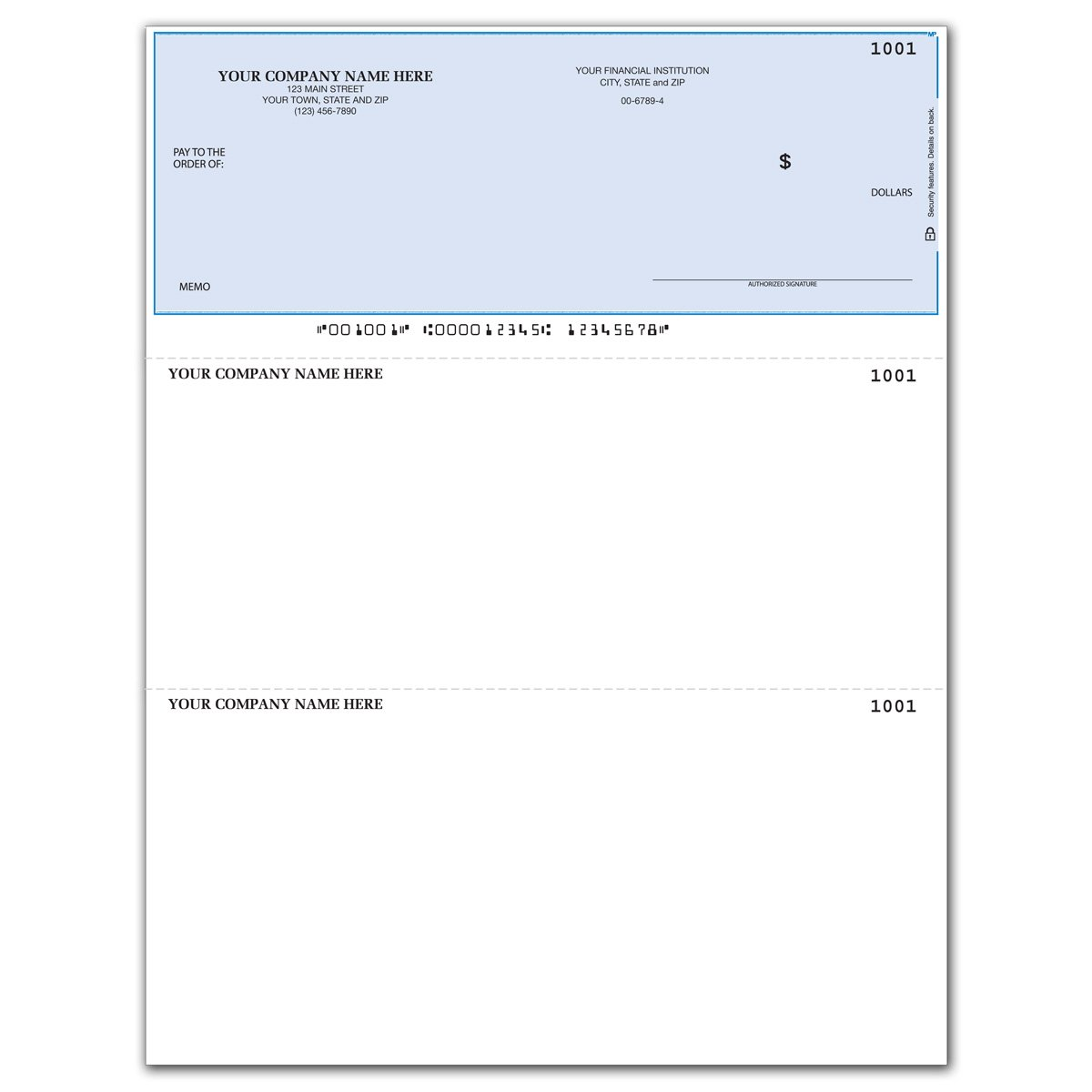 Laser Business Checks, Top Format - Use with with QuickBooks/Quicken - Unlined (100 qty) - Custom