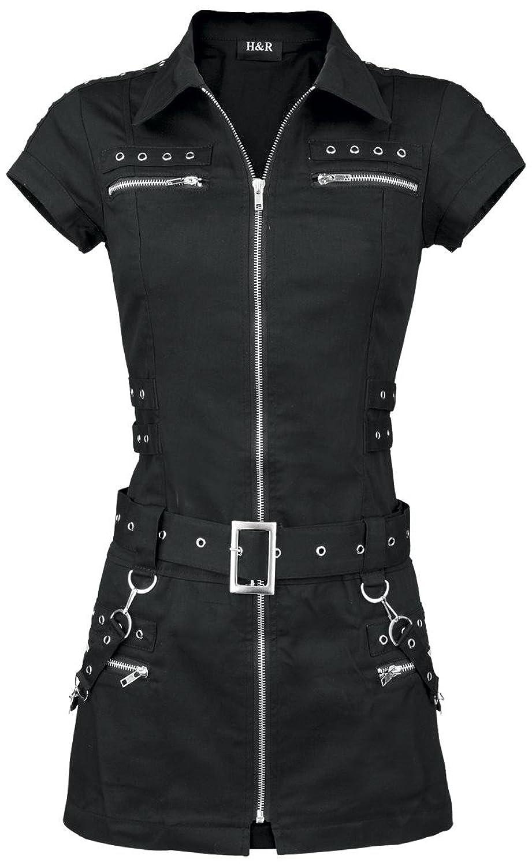 H&R London Black Zip Dress Kleid schwarz