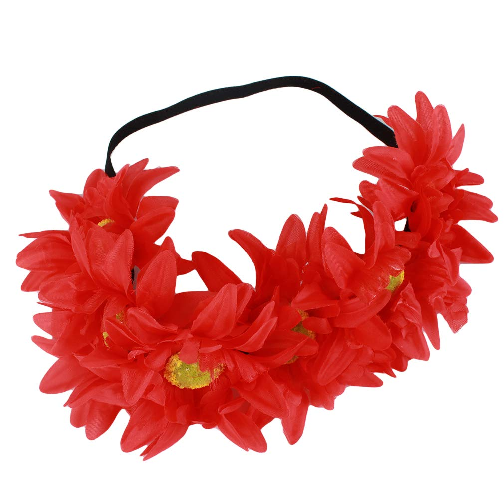 Rouge WEIHEEE Simulation Soleil Fleur Guirlande Bandeau /Él/égante Dentelle Bande De Cheveux R/églable pour Beach Holiday Fille
