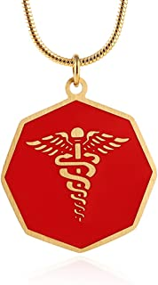 HZman 18k Gold Plated Stainless Steel Medical Alert Octagon Medal Pendant Necklace