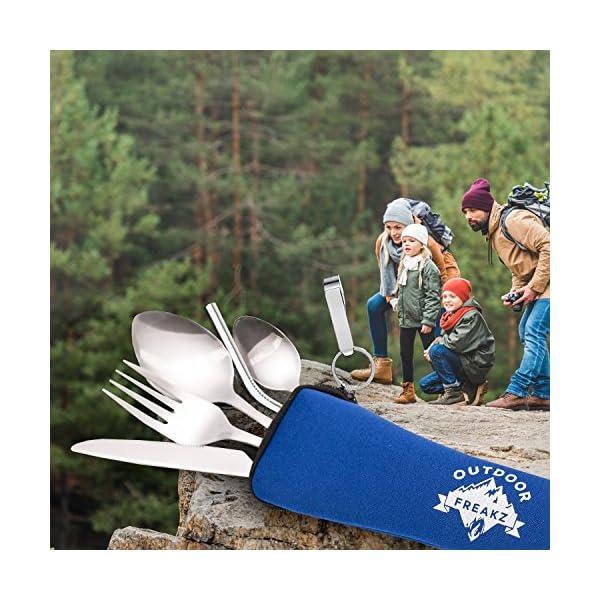 61Eu b0vJXL OUTDOOR FREAKZ Outdoor Reisebesteck und Campingbesteck aus Edelstahl mit Neoprenhülle