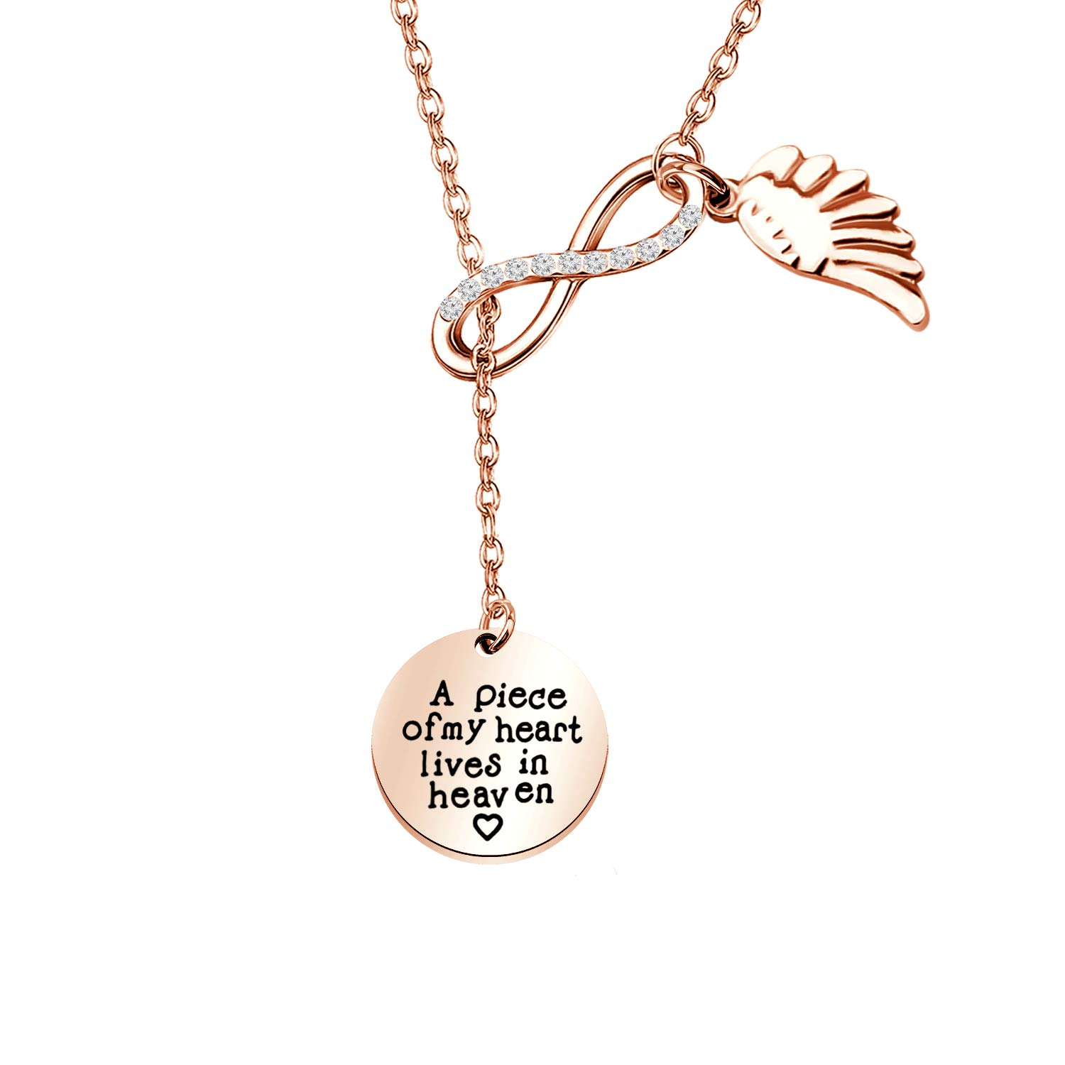 Memorial Jewelry Sympathy Gift A Piece of My Heart Lives In Heaven Lariat Y Necklace Loss Jewelry Gift