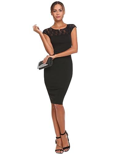 b118a06170ec41 Chigant Damen Spitzenkleid Ärmellos Knielang Kleid Etuikleid für Business  Party Cocktailkleid: Amazon.de: Bekleidung