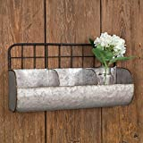 Galvanized Metal Wall Shelf with Divided Bins, - Large