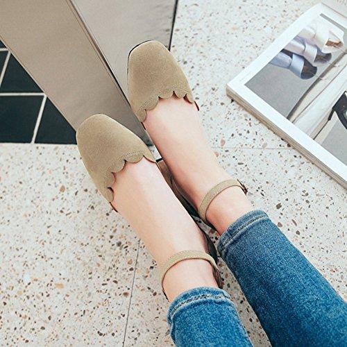 Aisun Damen Khaki Sandale Blockabsatz Geschlossen mit Knöchelriemchen Schnalle rrZWx8np