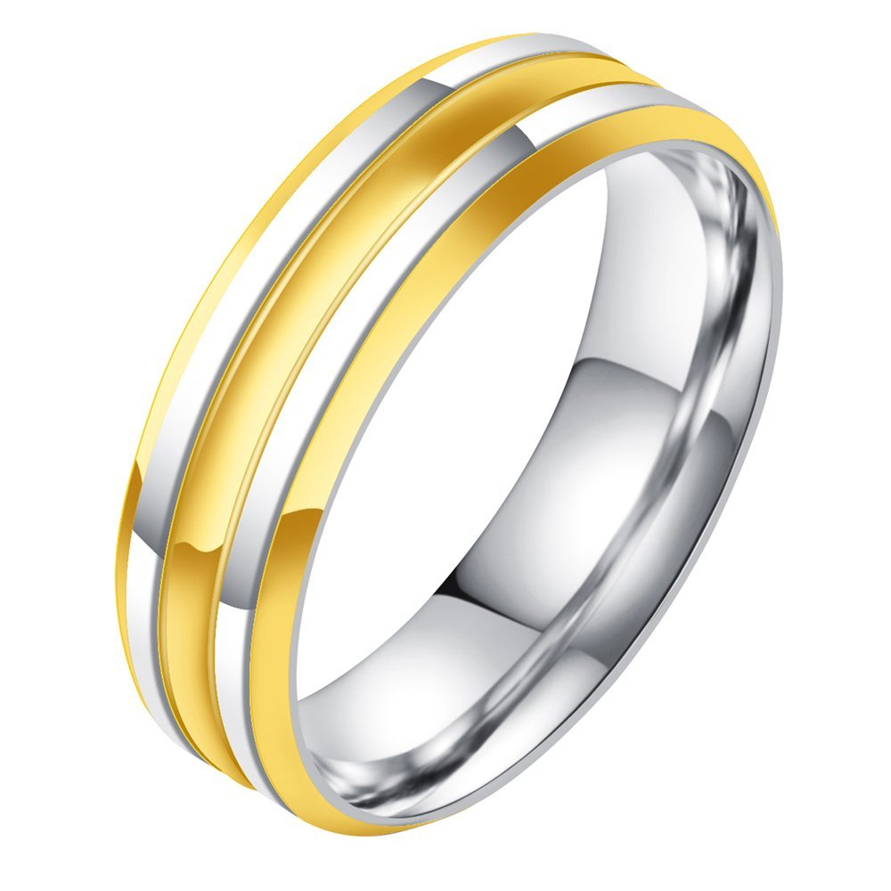 Onefeart Stainless Steel Ring Men Boy Stripe Design Gentleman Style Anniversary Ring Gold Silver Size 10