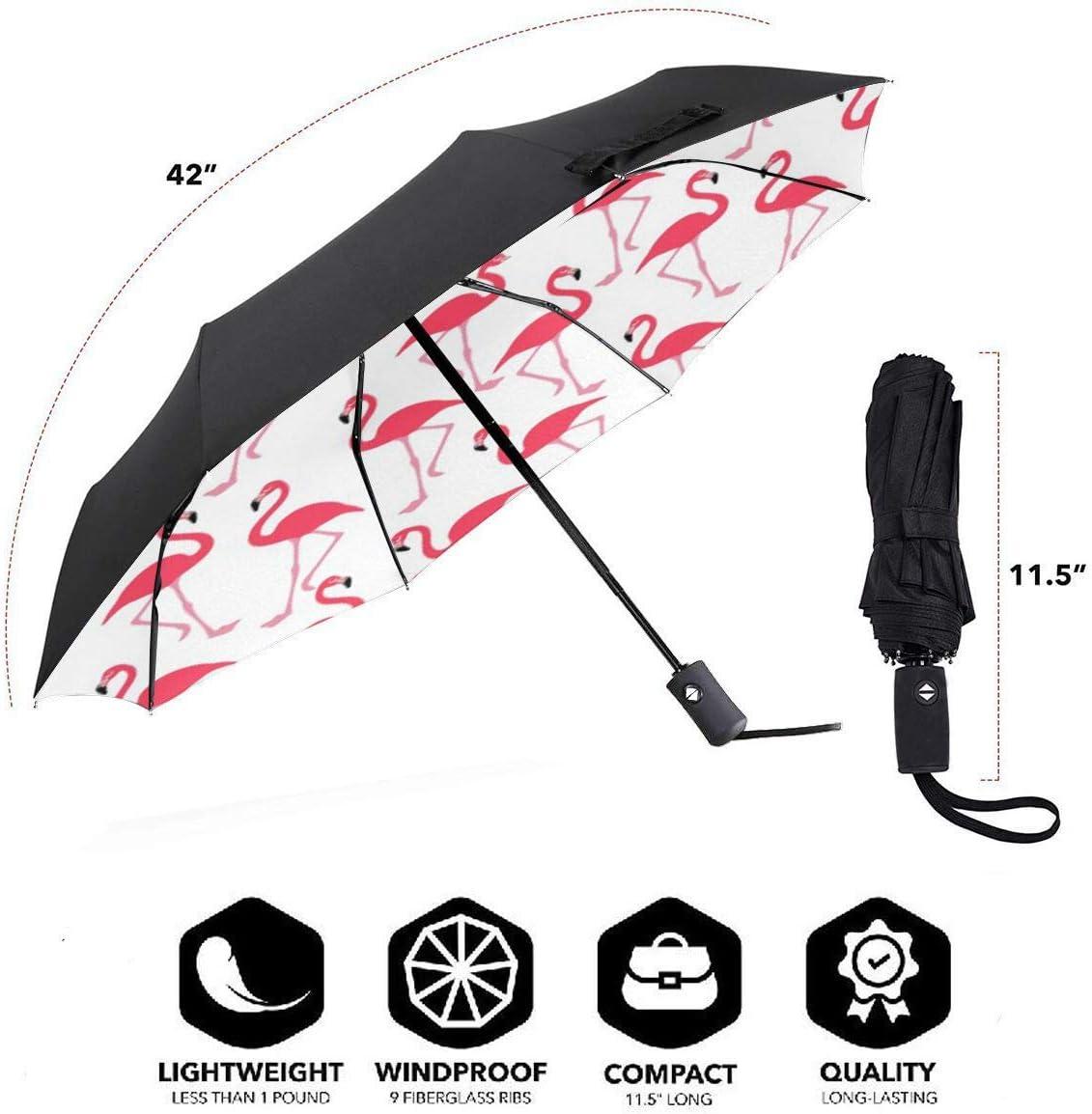 Flamingos Automatic Tri-Fold Umbrella Parasol Sun Umbrella Sunshade