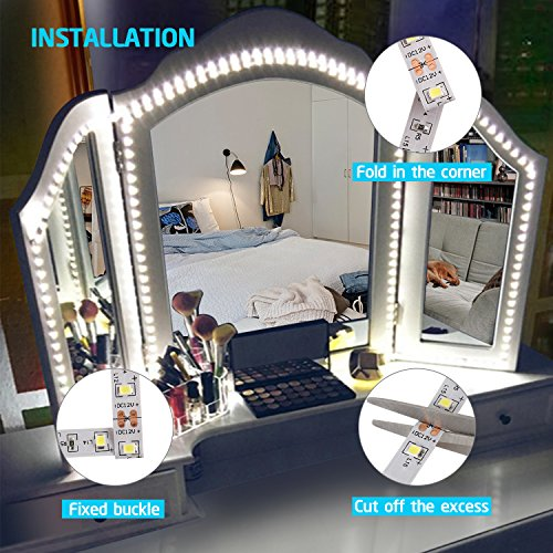 Led Vanity Mirror Lights Kit, 13ft/4M 240 LED Vanity Mirror with Lights - Vanity Lights for Makeup Table Set with Dimmer and Power Supply, Mirror not Included by zizwe (Image #3)