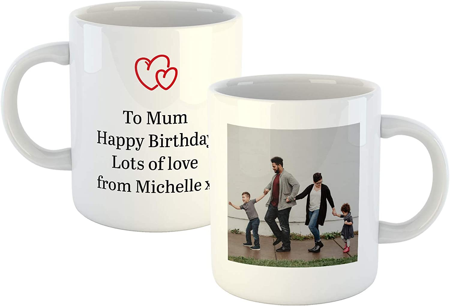 Personalised Mug with Photo and 4 Lines of Text Christmas 10oz Custom Gift for Valentines Upload Your Own Image with A Personal Four Line Message Birthdays