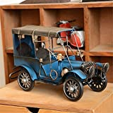 Metal Vintage Blue Classic Car Model Wrought Iron Handicraft Old Car Model Tinplate Car Model