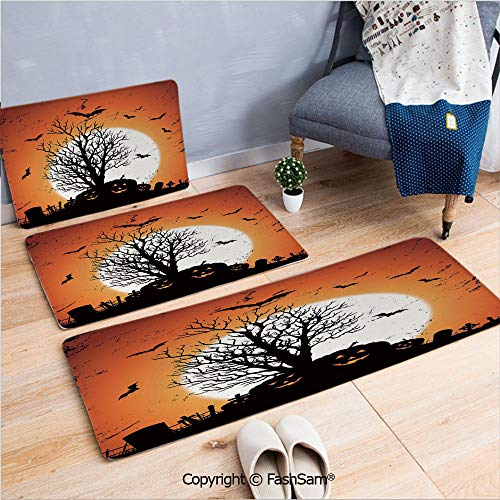 FashSam 3 Piece Flannel Bath Carpet Non Slip Grunge Halloween Image with Eerie Atmosphere Graveyard Bats Pumpkins Front Door Mats Rugs for Home(W15.7xL23.6 by W19.6xL31.5 by W31.4xL47.2) -