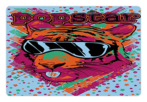 Popstar Party Pet Mats for Food and Water by Ambesonne, Popstar Poster Design Artistic Lion Painted with Sunglasses Dots and Stars, Rectangle Non-Slip Rubber Mat for Dogs and Cats, - Painted Sunglasses