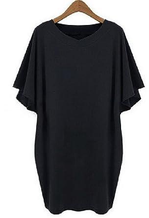 c00322bd834 Image Unavailable. Image not available for. Color  Baqijian Black Tee Shirt Dress  Plus Size Women ...