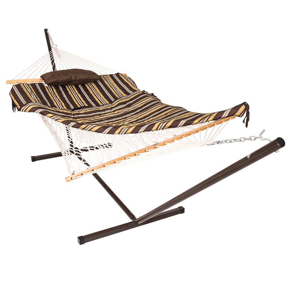 Lazy Daze Hammocks 12 Feet Space Saving Steel Hammock Stand with Cotton Rope Hammock Combo,Quilted Polyester Hammock Pad and Pillow,Classic Brown Stripe