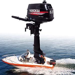 HANGKAI 6HP 2 Stroke Heavy Duty Outboard Motor Boat Engine w/Water Cooling System