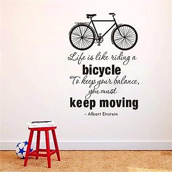 Zxfcczxf La Vida Es Como Andar En Bicicleta Cita De La Bici Etiqueta De La Pared Diy Ciclismo Palabras De Vinilo Bicicleta Arte De La Pared Sticker Mural Decoración Del Hogar: Amazon.es: