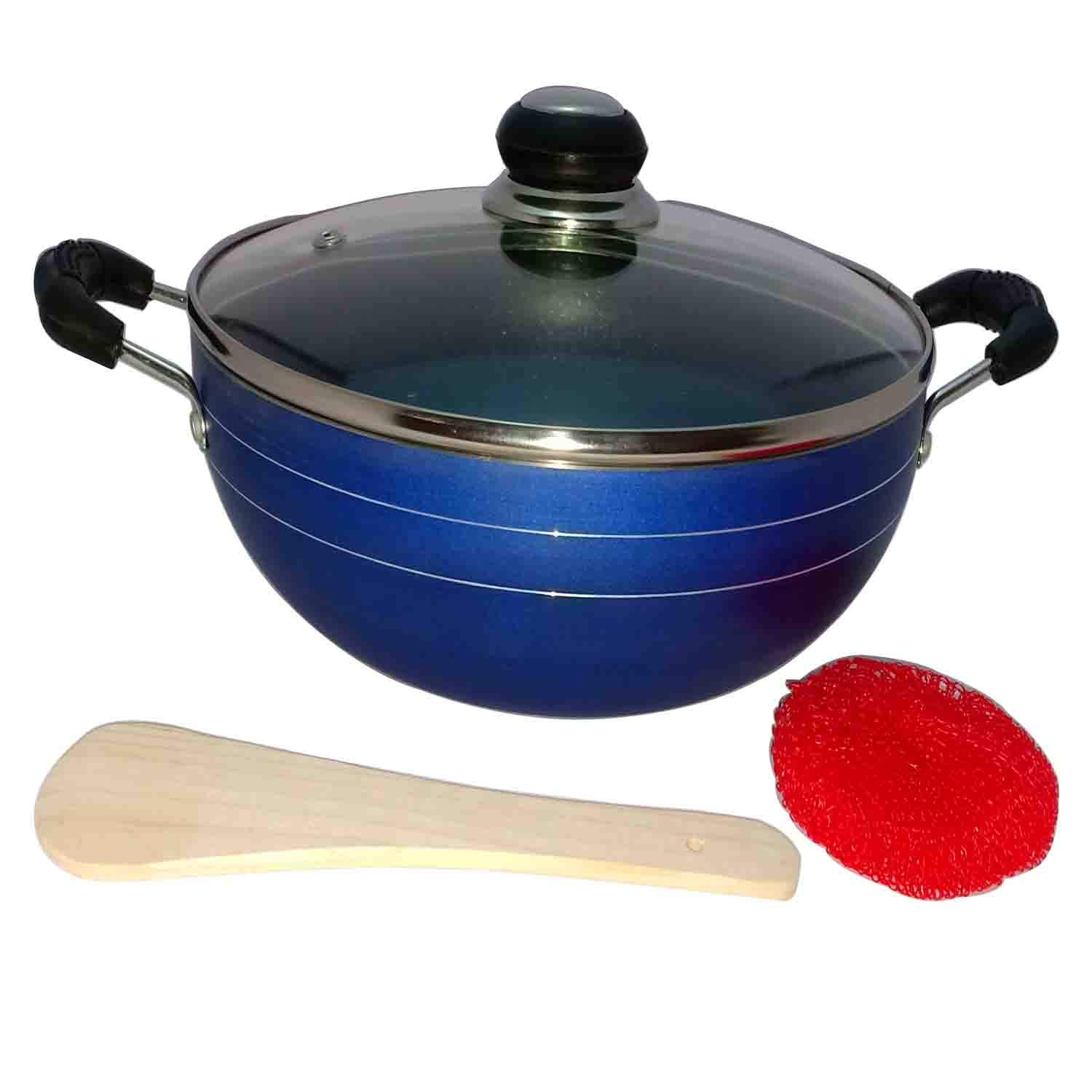 Hard Anodized Deep Kadai Non-Stick Aluminium Kadhai Deep Fry Pan Nonstick 2.2 Litre Kadhai with Glass Lid 240 mm (Induction and Gas Compatible)