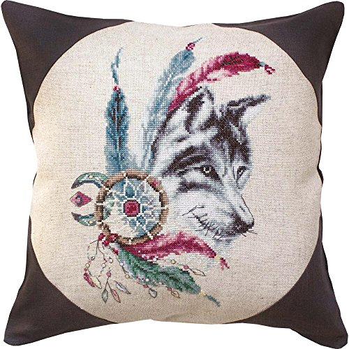 Lucas-S Rustic Wolf Pillow Counted Cross-Stitch Kit
