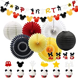 Meiduo Mickey Mouse Party Supplies 1st 2nd 3rd 4th 5th Birthday Boy Red Yellow Black Minnie Mouse Baby Shower Decorations for Girl Room Decor