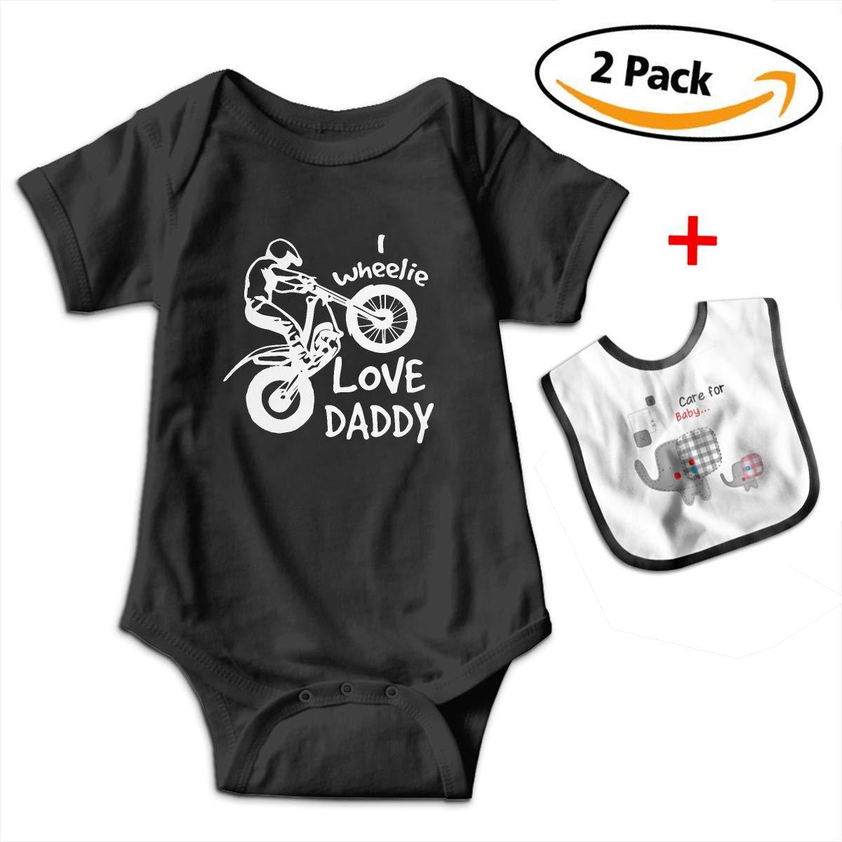 Robprint I Wheelie Love Daddy Baby Boys' Girls' Essentials Short-Sleeve Onesies Rompers