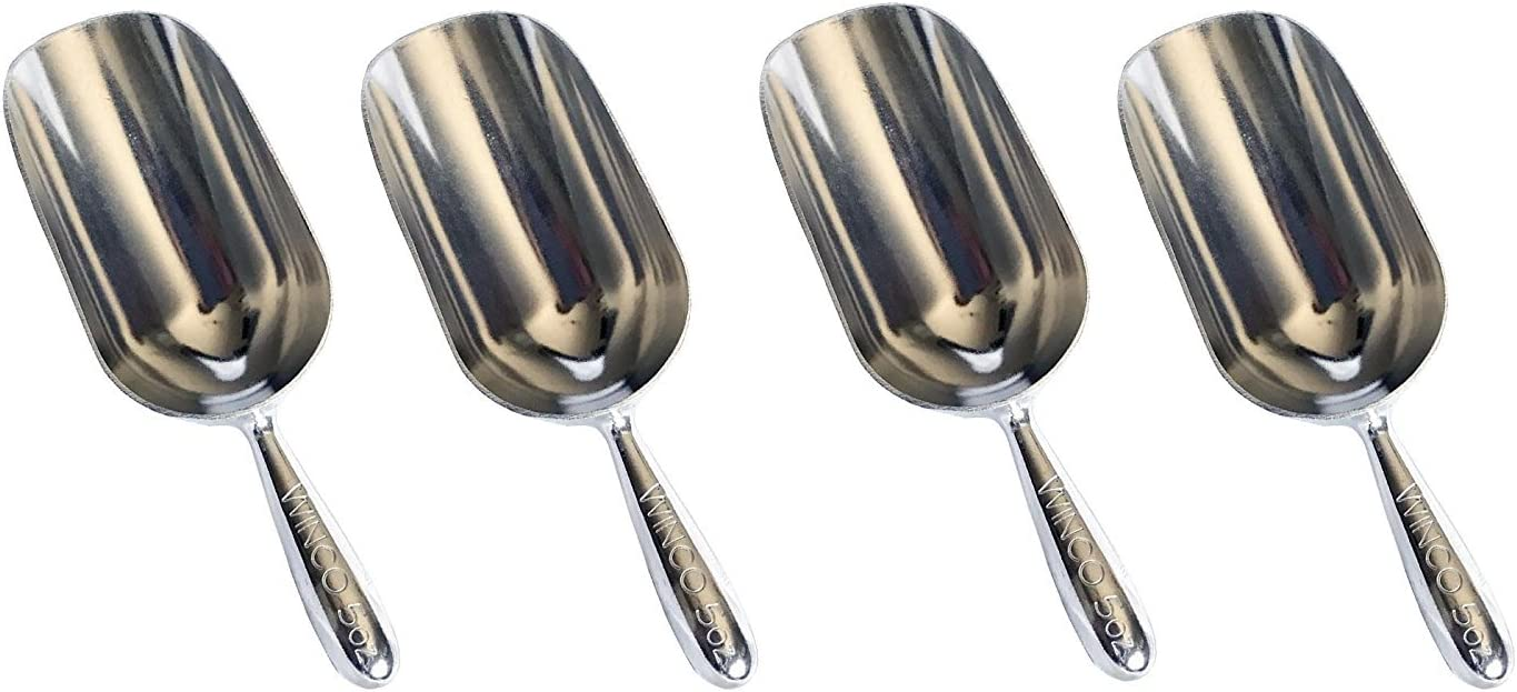 Winco 4 Pack 5 Oz. Aluminum Multi-Purpose Scoop Commercial Grade Quality
