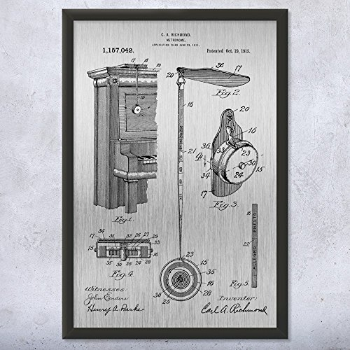 Patent Earth Framed Retractable Metronome Print, Musician Gift, Music Teacher, Piano Player, Vintage Music, Audio Technician Brushed Steel (5