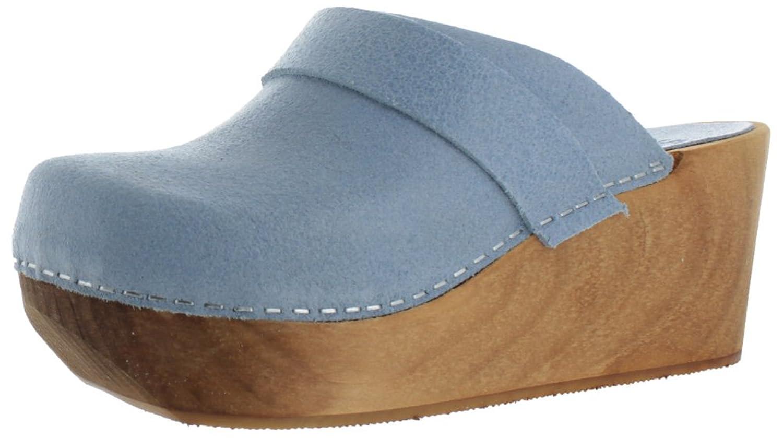 Sanita Women's Wood Open Back Leather Mule Clogs Shoes