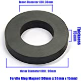 N3Powr® Ferrite Round Ring Magnet Size OD 90mm X ID 36mm X Thickness 15mm or 90x36x15 mm (Pack of 2 pieces)