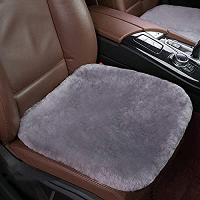 Dotesy Genuine Sheepskin Auto Front Seat Pad,Universal Fit Fuzzy Pure Wool Car Seat Cover Protector Cushion Soft Warm for Winter (Pure Gray): Home & Kitchen