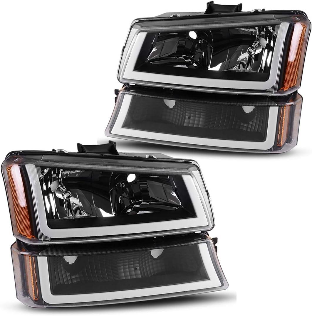 AUTOSAVER88 For 2003 2004 2005 2006 Chevy Avalanche Silverado 1500 2500 3500/2007 Chevrolet Silverado Classic Pickup Headlight Assembly Headlamp,Black Housing with Turn Signal Bumper Lamp