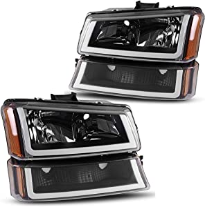 AUTOSAVER88 For 2003 2004 2005 2006 Chevy Avalanche Silverado 1500 2500 3500/2007 Chevrolet Silverado Classic Pickup Headlight Assembly Headlamp,Black Housing with Turn Signal Bumper Lamp