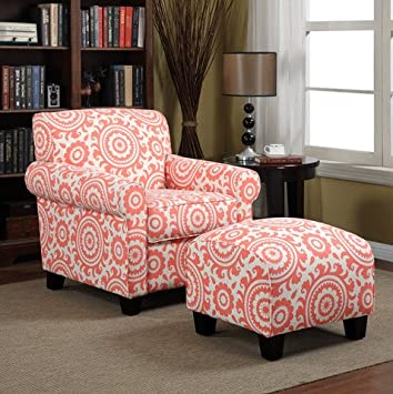 Portfolio Mira Orange Coral Medallion Decorative Upholstered Accent Arm Chair and Ottoman