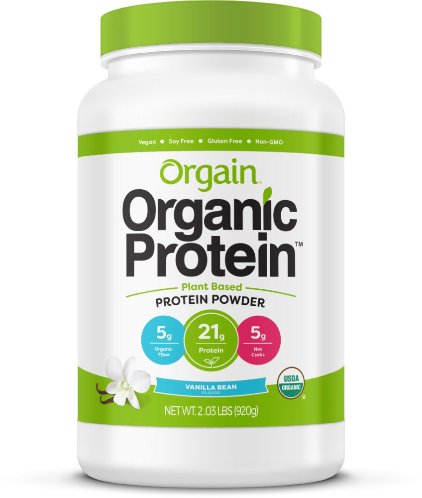 Orgain Organic Plant Based Protein Powder, Vanilla Bean - Vegan, Low Net Carbs, Non Dairy, Gluten Free, Lactose Free, No Sugar Added, Soy Free, Kosher, Non-GMO, 2.03 Pound by Orgain
