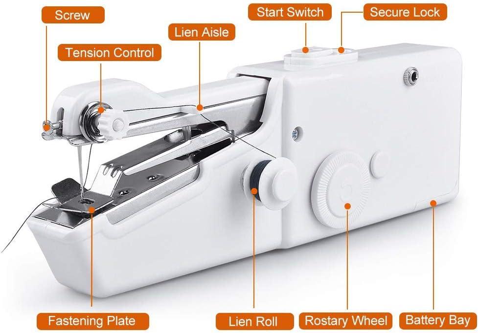 M/áquina de coser port/átil Mini Maquina de Coser Portatil,Herramienta de Ropa o Tela de Ni/ños Puntada R/ápida para Tela