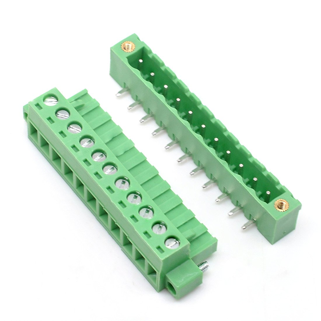 Willwin 10 Set 5.08mm Pitch Right Angle 10 Pin PCB Pluggable Terminal Blocks Connectors Green