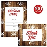 Christmas Party Invitations & Matched Thank You Cards Set with Envelopes ( 100 of Each ) Rustic Holiday Country Design Acorn Pine Cone Holly & Bells Fill-in Invites & Thank You Notes Best Value Combo