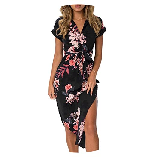 bf30ac718 Women Dress 2019 Summer Sexy Geometric Print Boho Style Beach Dress ...