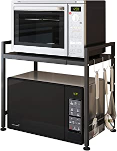 JoyRain Microwave Oven Rack, 2 Tier Expandable and Height Adjustable Kitchen Counter Shelf and Orgaizer, Carbon Steel Cabinet Shelf with 3 Hooks, Black