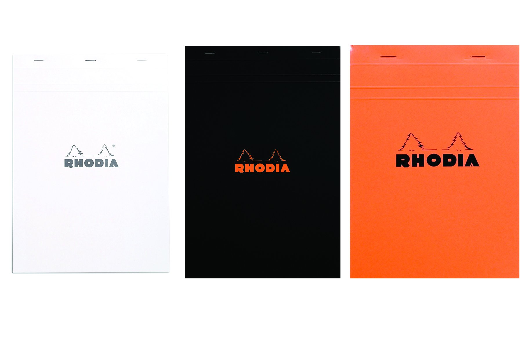 Rhodia Notepads Black, Orange and White Graph 80 Sheet 8.25x11.75, Pack of 3