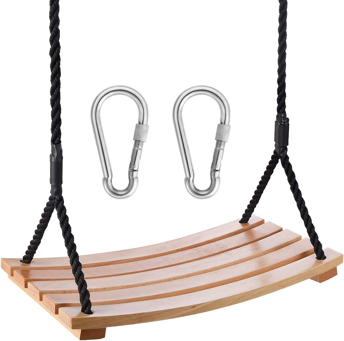 Wood Swing Sets Adult Durable Hanging Tree Swing Seat for Garden Backyard Indoor Outdoor with 100'' Height Adjustable Rope